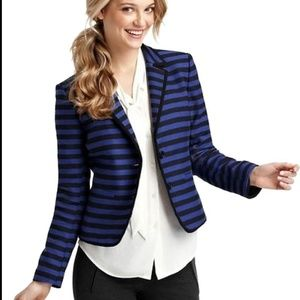 Ann Taylor Loft Blue Striped Blazer Jacket 12